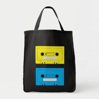 yellow casette copy, blue casette tote bag