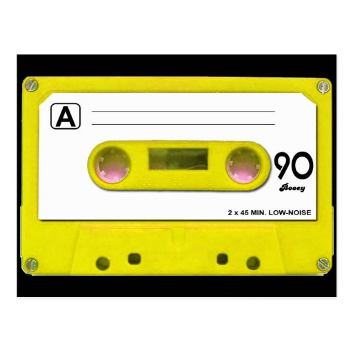Yellow Cassette Tape Post Cards