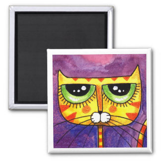 Yellow Cat Face - Magnet