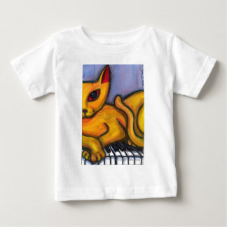 Yellow Cat On Piano Baby T-Shirt