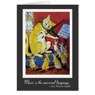 Yellow Cat Playing Violin for Dancing Rats Card