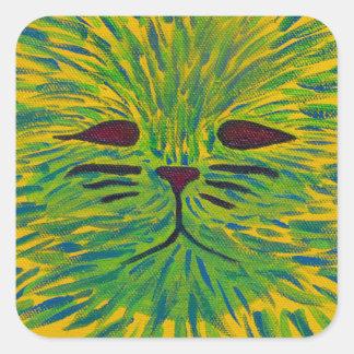 Yellow Cat Print Square Sticker
