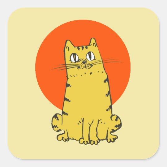 yellow cat sweet cartoon square sticker