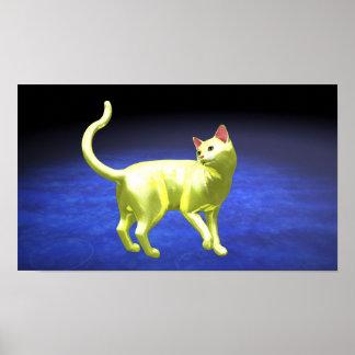 Yellow Cat turning Poster