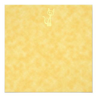 "Yellow Cat, Winking. Yellow Pattern Background. 5.25"" Square Invitation Card"