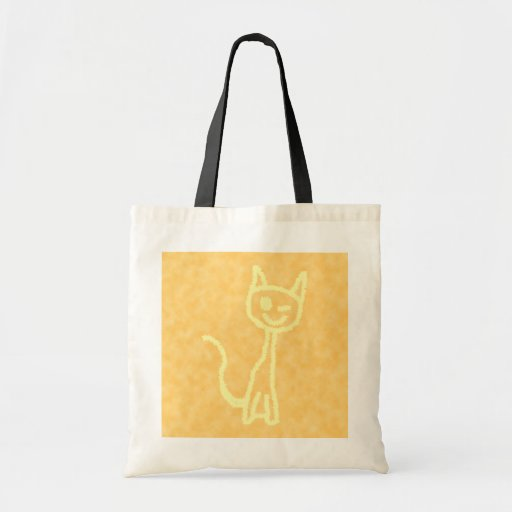 Yellow Cat, Winking. Yellow Pattern Background. Canvas Bags