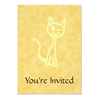 Yellow Cat, Winking. Yellow Pattern Background. 5x7 Paper Invitation Card