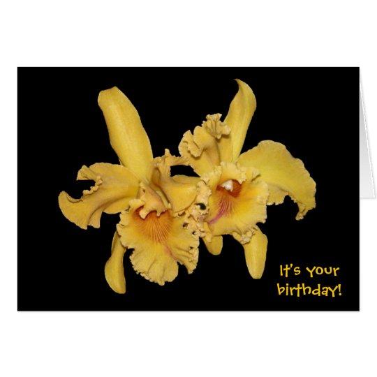 Yellow Cattleya Orchid Birthday Card
