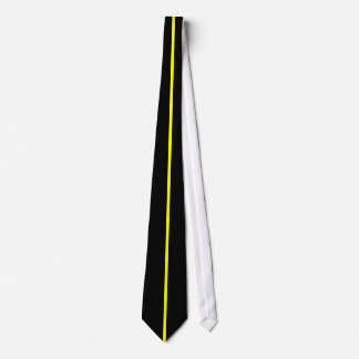 Yellow Centered Thin Vertical Line on Black Tie