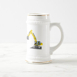 yellow chain excavator beer stein
