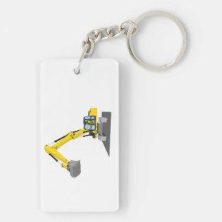 yellow chain excavator keychain