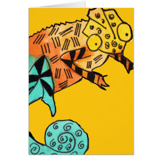 Yellow chameleon ink kids birthday card