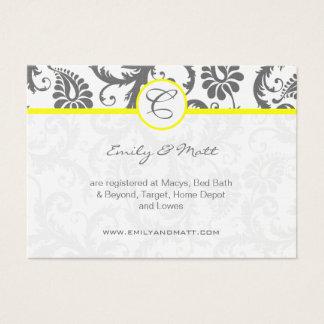 Yellow & Charcoal Gray Damask Wedding Info Cards