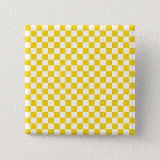 Yellow Checkerboard 2 Inch Square Button