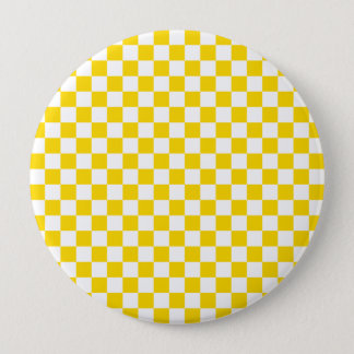 Yellow Checkerboard 4 Inch Round Button