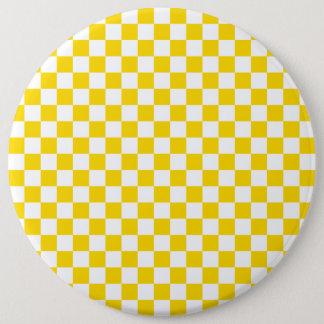 Yellow Checkerboard 6 Inch Round Button