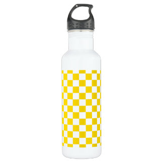 Yellow Checkerboard 710 Ml Water Bottle
