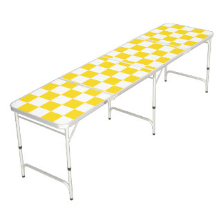 Yellow Checkerboard Beer Pong Table