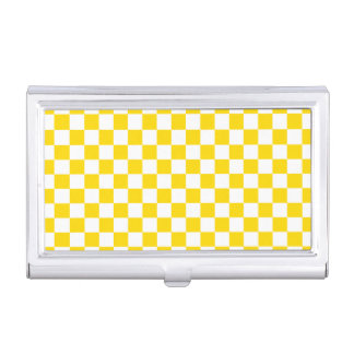 Yellow Checkerboard Business Card Holder