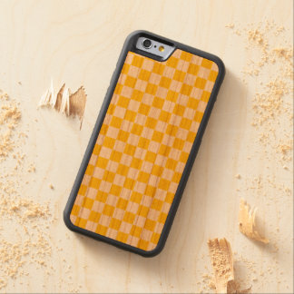 Yellow Checkerboard Carved Cherry iPhone 6 Bumper Case