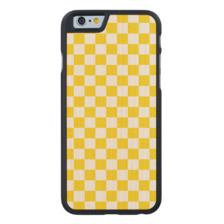 Yellow Checkerboard Carved Maple iPhone 6 Case