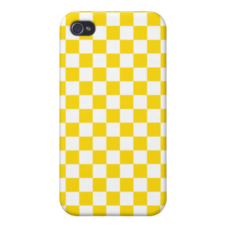 Yellow Checkerboard Cover For iPhone 4