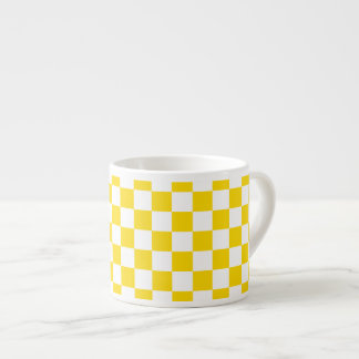 Yellow Checkerboard Espresso Cup