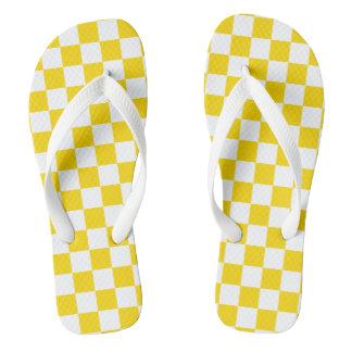 Yellow Checkerboard Flip Flops