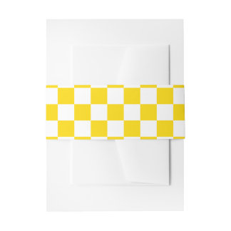 Yellow Checkerboard Invitation Belly Band