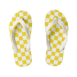 Yellow Checkerboard Kid's Flip Flops
