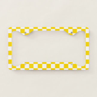 Yellow Checkerboard License Plate Frame