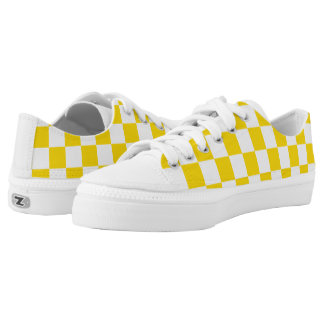 Yellow Checkerboard Low-Top Sneakers