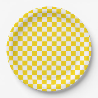 Yellow Checkerboard Paper Plate