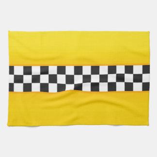 Yellow Checkerboard Pattern Kitchen Towel