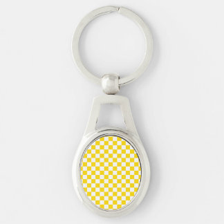 Yellow Checkerboard Silver-Colored Oval Keychain