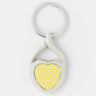 Yellow Checkerboard Silver-Colored Twisted Heart Keychain