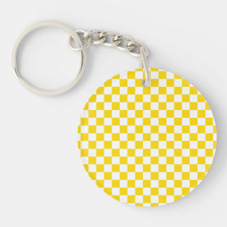 Yellow Checkerboard Single-Sided Round Acrylic Keychain