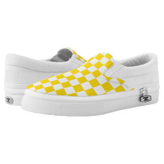 Yellow Checkerboard Slip-On Sneakers