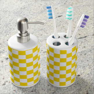 Yellow Checkerboard Soap Dispenser And Toothbrush Holder