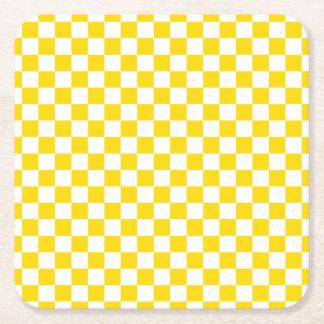 Yellow Checkerboard Square Paper Coaster