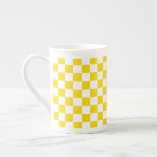 Yellow Checkerboard Tea Cup
