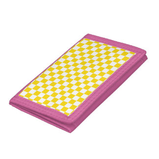 Yellow Checkerboard Trifold Wallets