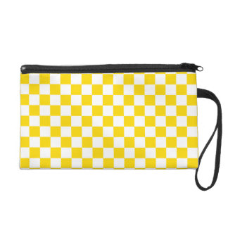 Yellow Checkerboard Wristlet