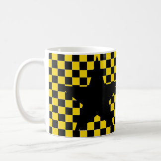 yellow checkered black star coffee mug