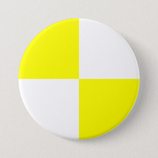 Yellow Checkered Pattern 3 Inch Round Button