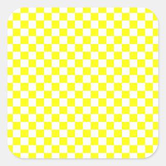 Yellow Checkered Square Sticker