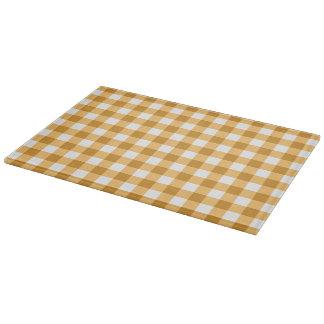 Yellow Checks Gingham Pattern Cutting Board