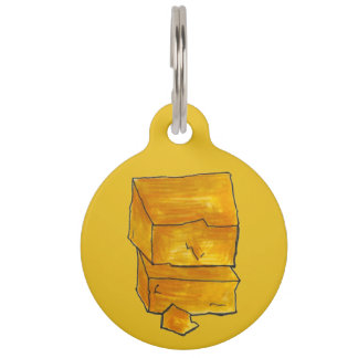 Yellow Cheddar Cheese Wedge Foodie Pet Name Tag