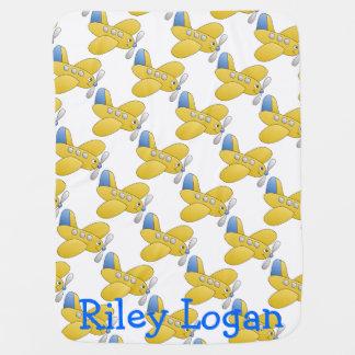 Yellow Cheerful Airplane Baby Blanket