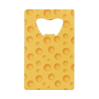 Yellow Cheese Pattern Credit Card Bottle Opener